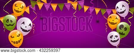 Banner With Orange, White And Green Balloons With Scary Smiles, Pennants And Spiders On Purple Backg