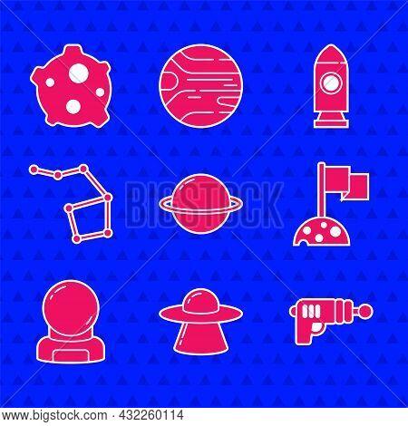 Set Planet Saturn, Ufo Flying Spaceship, Ray Gun, Moon With Flag, Astronaut Helmet, Great Bear Const