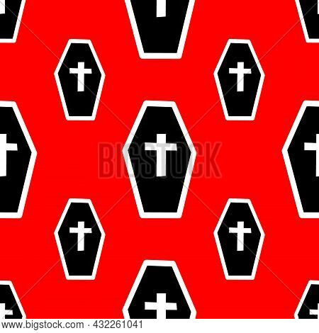 Pattern With Coffins And Crosses On A Red Backdrop
