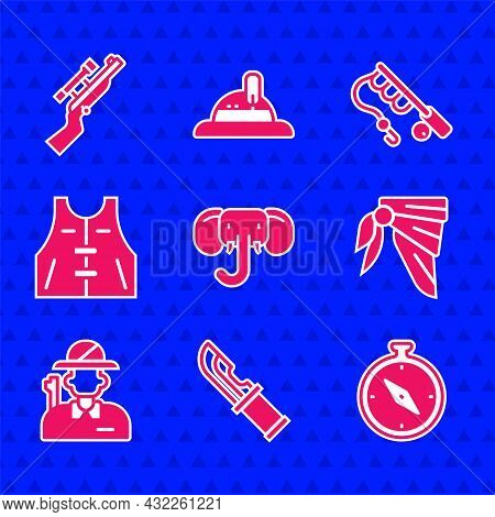 Set Elephant, Hunter Knife, Compass, Bandana Or Biker Scarf, Hunting Jacket, Fishing Rod And Sniper