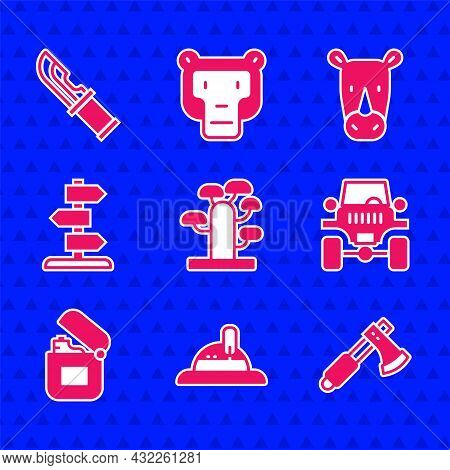 Set African Tree, Hunter Hat, Wooden Axe, Off Road Car, Lighter, Road Traffic Sign, Rhinoceros And K