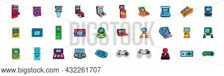 Set Of Joysticks And Arcade Machine Icons Vector
