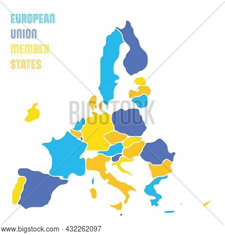Simplified Map Of Eu, European Union. Rounded Shapes Of States With Smoothed Border. Colorful Simple