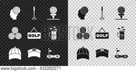 Set Golf Ball, Club, On Tee, Baseball Cap, Sun Visor, Hole With Flag, And Label Icon. Vector