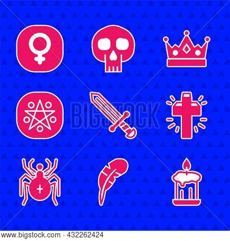 Set Medieval Sword, Feather Pen, Burning Candle, Christian Cross, Spider, Pentagram Circle, King Cro