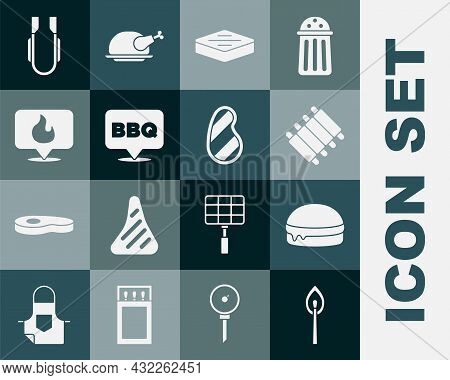 Set Burning Match With Fire, Burger, Grilled Pork Bbq Ribs, Steak Meat, Barbecue, Location Flame, Me