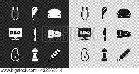Set Meat Tongs, Rib Eye Steak, Burger, Steak Meat, Pepper, Grilled Shish Kebab, Barbecue And Knife I
