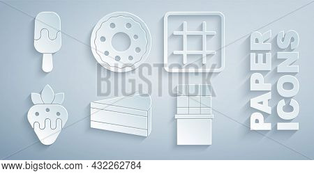 Set Piece Of Cake, Waffle, Strawberry In Chocolate, Chocolate Bar, Donut And Ice Cream Icon. Vector