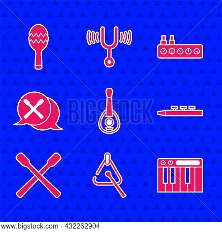 Set Guitar, Triangle, Music Synthesizer, Drum And Drum Sticks, Sound Mixer Controller And Maracas Ic