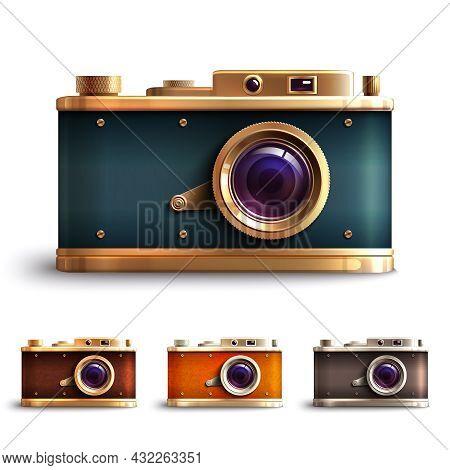 Retro Style Vintage Photo Camera Decorative Icons Set Isolated Vector Illustration