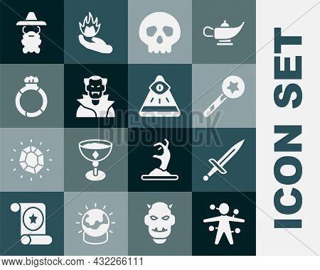 Set Voodoo Doll, Dagger, Magic Wand, Skull, Vampire, Stone Ring With Gem, Wizard Warlock And Masons