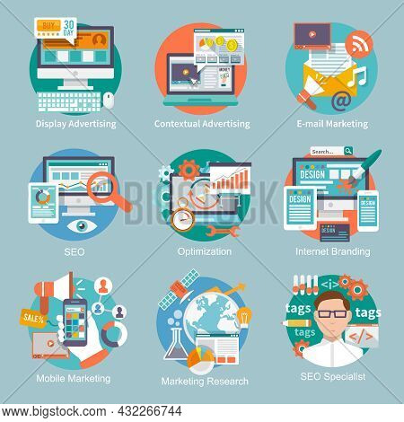 Seo Internet Marketing Flat Icon Set With Display Contextual Advertising E-mail Marketing Concepts I