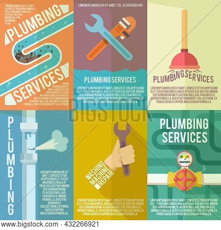 Plumber Service Flat Labels Composition Poster Of Leakage Fixing And Washing Machines Repair Abstrac