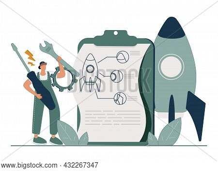 Project Implementation Abstract Concept Vector Illustration. Project Initiation And Closure, Workflo