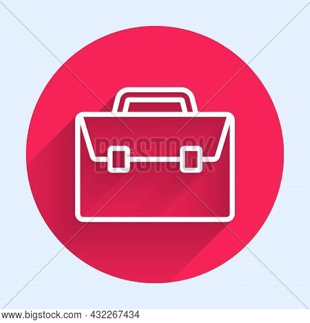 White Line Briefcase Icon Isolated With Long Shadow. Business Case Sign. Business Portfolio. Red Cir