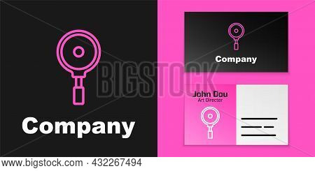 Pink Line Frying Pan Icon Isolated On Black Background. Fry Or Roast Food Symbol. Logo Design Templa