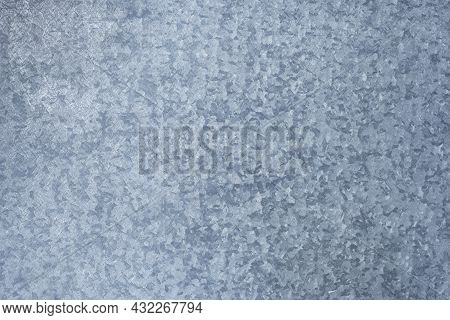 Texture Of A Galvanised Sheet, Electroplated Steel Blue Colored Texture, Hot Dip Steel, Zinc Plated