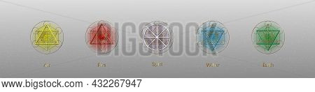 Five Elements Icons And Magic Spirit Symbol, Gold Round Symbols Set Template. Air, Fire, Water, Eart