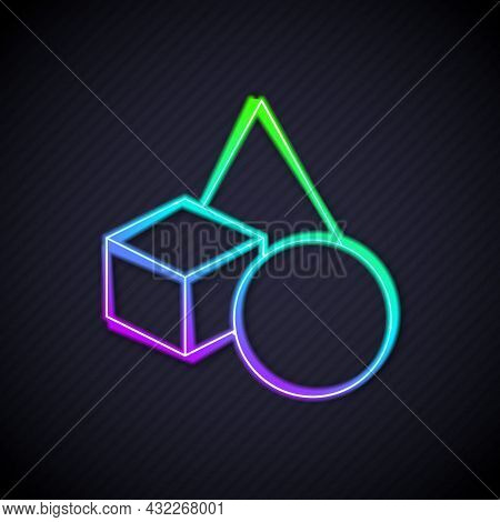 Glowing Neon Line Basic Geometric Shapes Icon Isolated On Black Background. Vector