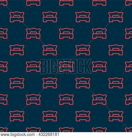 Red Line Bedroom Icon Isolated Seamless Pattern On Black Background. Wedding, Love, Marriage Symbol.