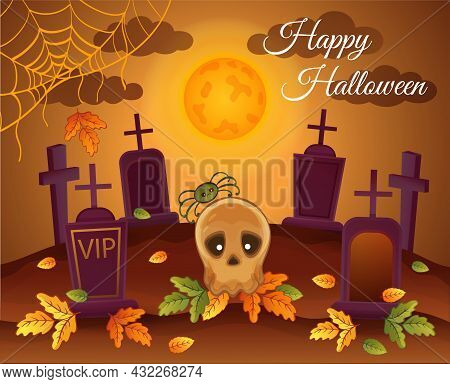 Halloween Night Cemetery With Skull Monster, Full Moon, Spider, Gravestone And Crosses. Spooky Lands