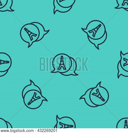 Black Line Eiffel Tower Icon Isolated Seamless Pattern On Green Background. France Paris Landmark Sy