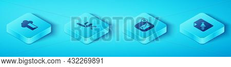 Set Isometric Cloud Database, Office Chair, Note Paper With Push Button And Envelope Icon. Vector