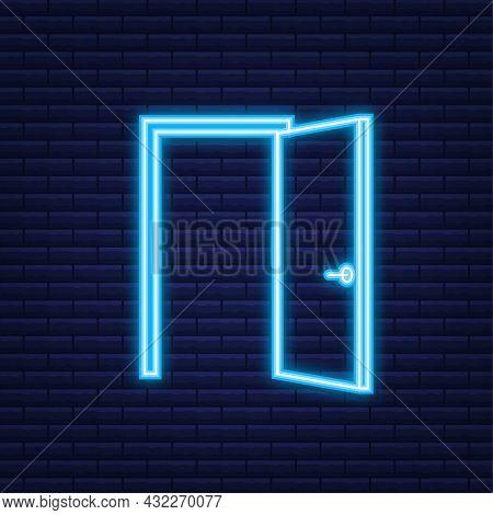 Open Door. Interior Design. Neon Icon. Business Concept. Front View. Home Office. Vector Illustratio