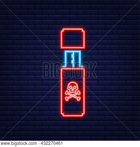 Computer Virus On Usb Flash Card. Virus Protection. Neon Icon. Vector Stock Illustration.