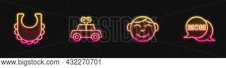 Set Line Little Boy Head, Baby Bib, Toy Car And Speech Bubble Mom. Glowing Neon Icon. Vector