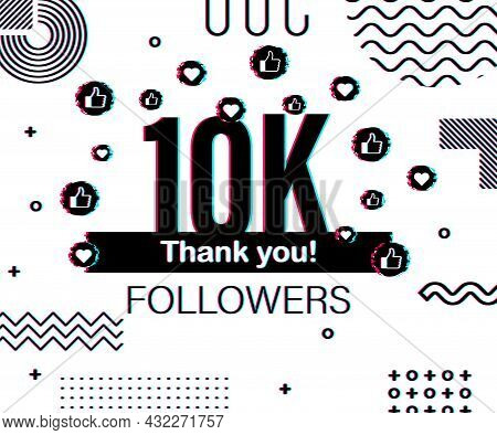 Thank You 10 000 Followers Numbers. Glitch Style Banner. Congratulating Multicolored Thanks Image Fo