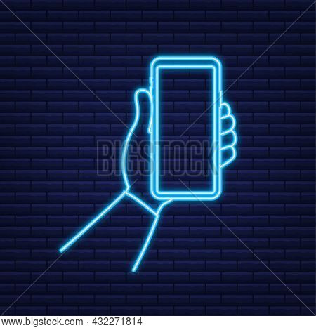 Smartphone On Hand. Telephone Icon. Neon Icon. Touchscreen, Phone Display. Cell Phone. Vector Illust