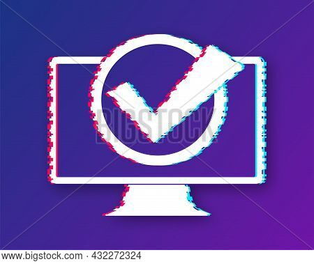 Computer With Checkmark Or Tick Notification In Bubble. Approved Choice. Accept Or Approve Checkmark