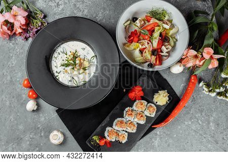 Three-course Set Menu For A Nutritious Healthy Lunch In A Restaurant, Three Course Set On A Table In