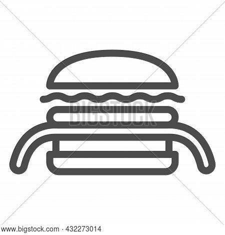 Burger Kuro Ninja Line Icon, Asian Food Concept, Black Ninja Vector Sign On White Background, Outlin