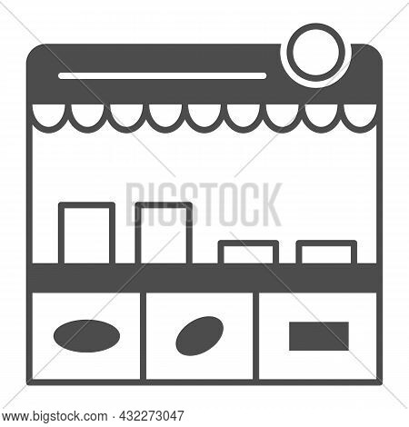 Fast Food Stall Solid Icon, Asian Food Concept, Korean Kiosk Vector Sign On White Background, Glyph