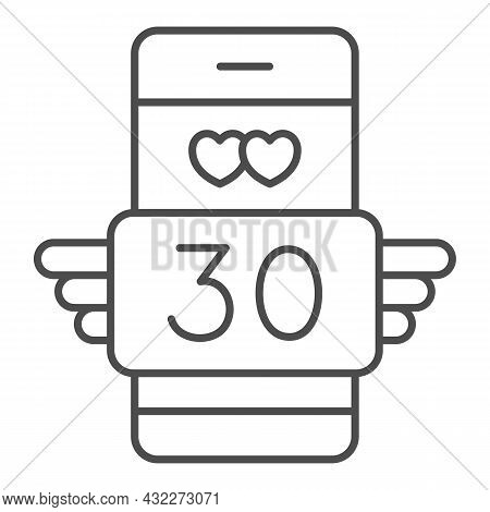 Winged Love Message 30 In Smartphone Thin Line Icon, Love And Dating Concept, Text Thirty Vector Sig