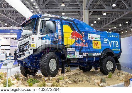 Sports Truck Kamaz-435091 For Rally Racing. The Stand Of The Kamaz Company At The International Exhi