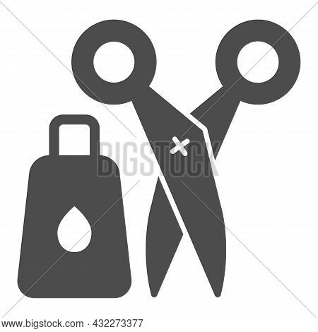 Glue And Scissors Solid Icon, Office Supplies Concept, Office Implements, Tools Vector Sign On White