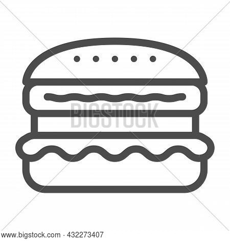 French Burger Line Icon, Fast Food Concept, Cheeseburger Vector Sign On White Background, Outline St