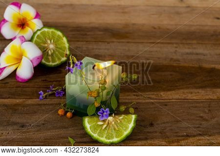 Natural Herbal Scented Candle Extract Kaffir Lime Aroma Therary Local Of Asia Arrangement Flat Lay P