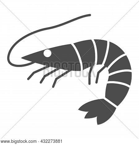 Shrimp Solid Icon, Seafood Concept, Prawn Vector Sign On White Background, Glyph Style Icon For Mobi