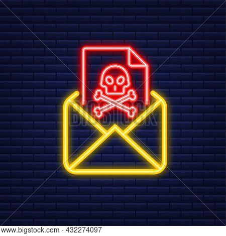 Email Virus. Neon Icon. Computer Screen. Virus, Piracy, Hacking And Security, Protection. Vector Sto