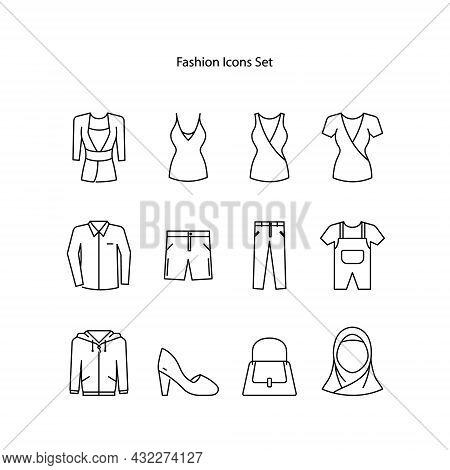 Fashion Icons Line Style Set With Tailor, Flat Shoes And Other Dressmaker Elements. Isolated Vector