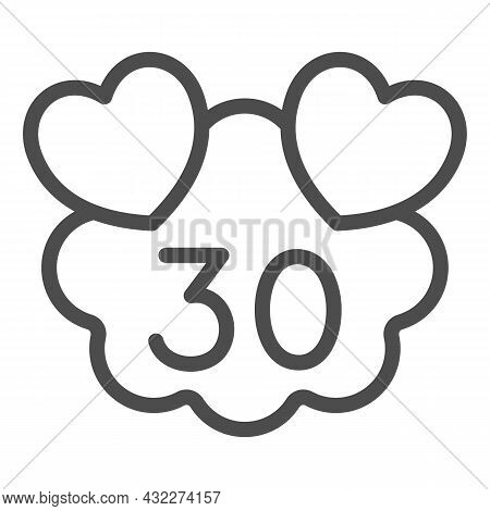 Hearts On Cloud With Number 30 Line Icon, Love And Relationship Concept, Thirty Years Vector Sign On