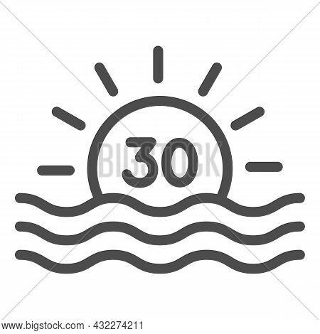 Sun With Number 30 And Sea Sunrise Line Icon, Love And Relationship Concept, Thirty Vector Sign On W