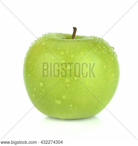Water Drop Of Green Apple Isolated On White Background