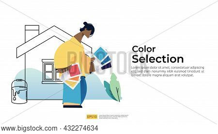 People Character Selection Paint Color Use Coloring Palette. Concept Of Choosing Wall Color For Hous