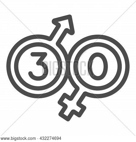 Male And Female Beginning With 30 Line Icon, Love And Relationship Concept, Thirty Vector Sign On Wh