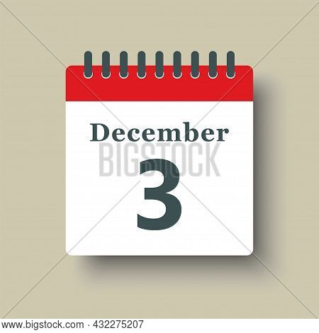 Icon Day Date 3 December, Template Calendar Page